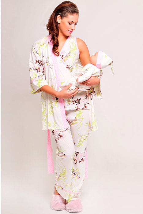 Olian Maternity 5 Piece Nursing Pajama Set