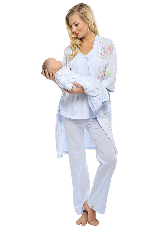 Olian 4 - Piece Chrysanthemum Pajama Set (Pink or Blue) - tummystyle.com