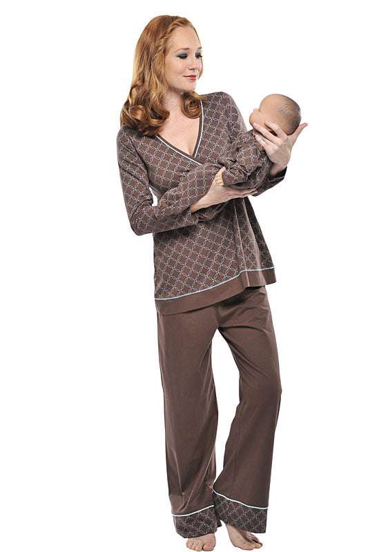 Olian Maternity Circles 3 PC Nursing Pajama Set-Brown