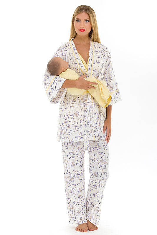 Olian Maternity Yellow Flowers Nursing Pajama Set - tummystyle.com
