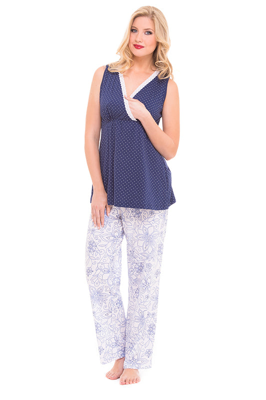 Olian Maternity Flower Dot Nursing Pajama Set