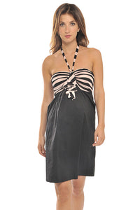 Olian Pink Striped Halter Maternity Dress - tummystyle.com