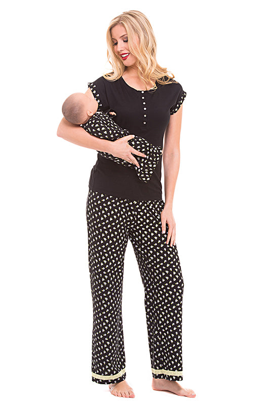 Olian Maternity Black Rose Nursing 3 Piece Pajama Set