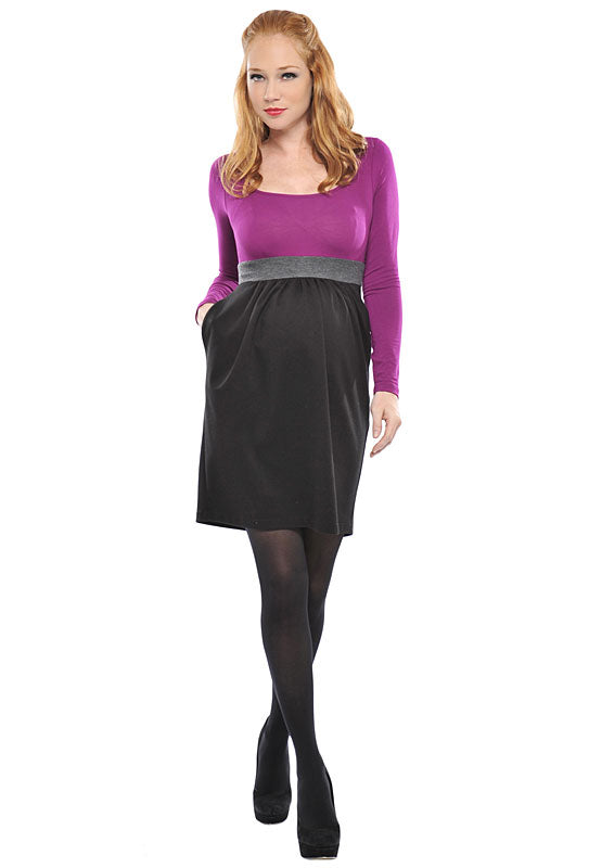 Olian Sugar Plum Maternity Dress - tummystyle.com