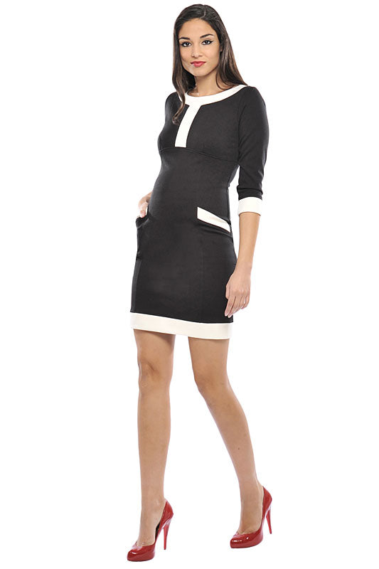 Olian White Trim Maternity Dress - tummystyle.com