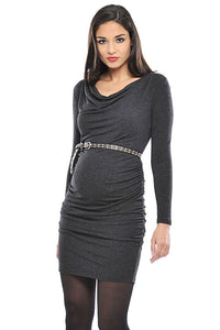 Olian Cowl-Neck Tie Maternity Dress