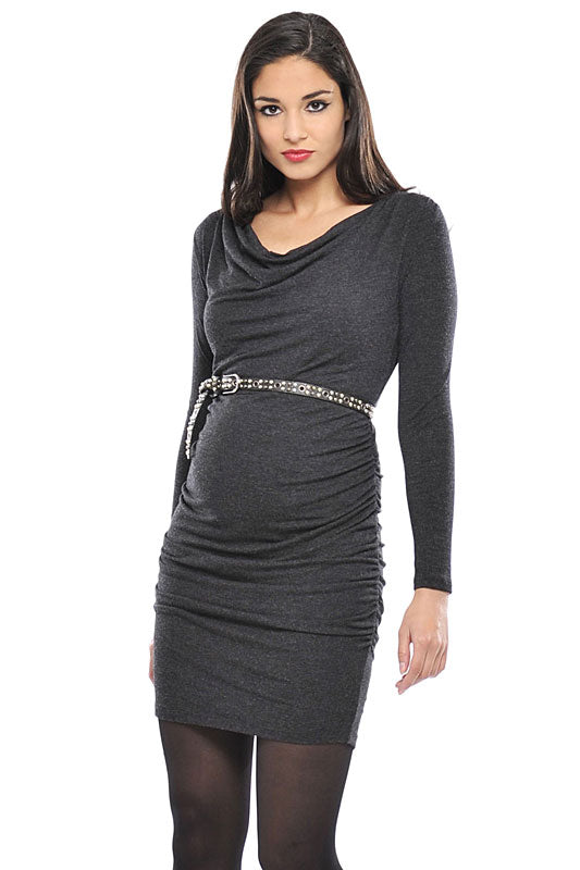 Olian Cowl-Neck Tie Maternity Dress - tummystyle.com