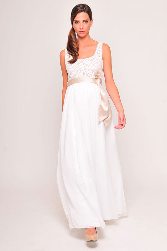 Olian Sleeveless Lace Top Evening/Wedding Dress - tummystyle.com