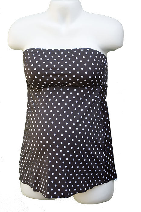 Prego Maternity Black Dot Strapless Mini - tummystyle.com