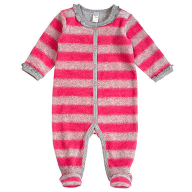 PetitLem Velour Pink Striped Sleeper