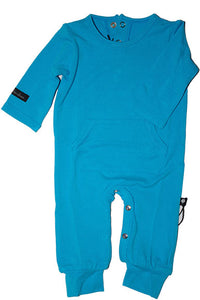 Sweet Bamboo L/S Pocket Romper - Blue