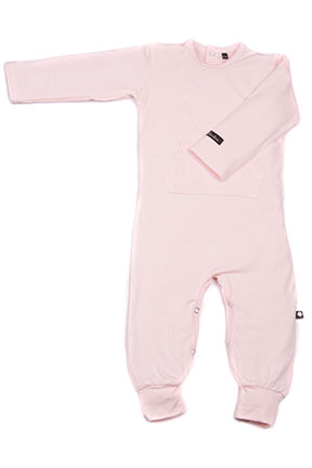 Sweet Bamboo L/S Pocket Romper - Perfect Pink