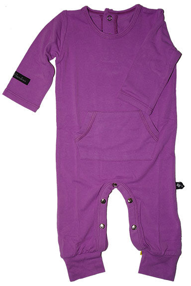 Sweet Bamboo L/S Pocket Romper - Purple - tummystyle.com