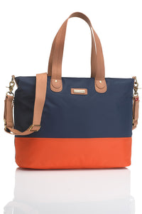 Storksak Tote Navy/Orange Diaper Bag