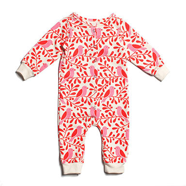 French Terry Birds and Berries Jumpsuit - Winter Water Factory