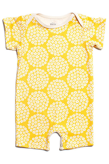 Winter Water Factory Summer Romper Yellow Flower Dots