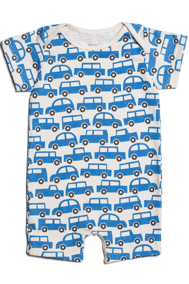 Baby Romper Traffic Jam Blue by Winter Water Factory - tummystyle.com