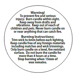 Candle Safety Label - 34mm
