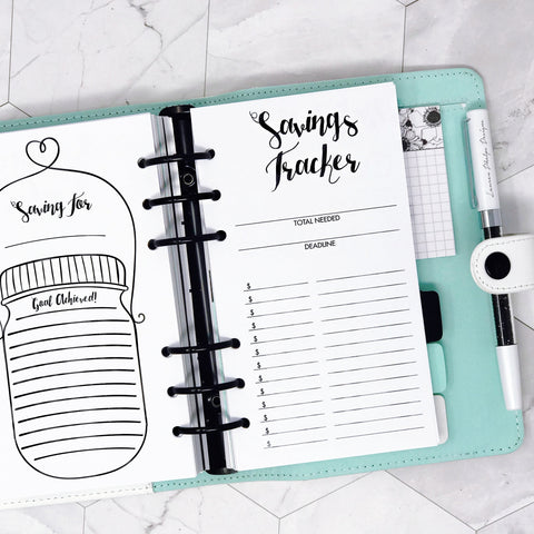 Savings Tracker and Financial Planner shown in a Personal Ring Planner
