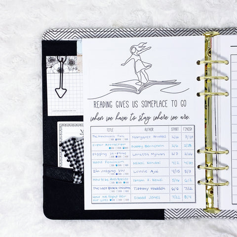 Reading Log page from the Lights Planner Action Literary Logbook and Reading Journal in A5 Ring Planner Size