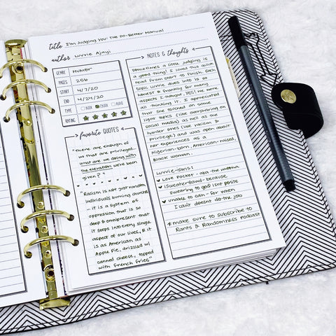 Book Review Page from Lights Planner Action Literary Logbook and Reading Journal in A5 size