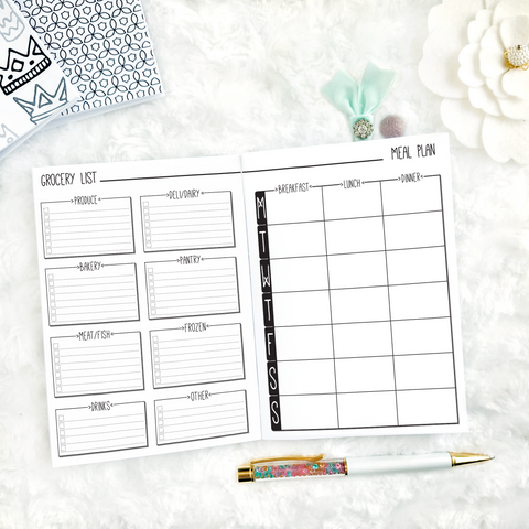 Meal Planner & Grocery List | Doodle Style | Printed