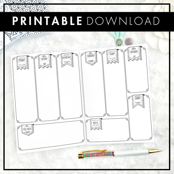 Undated Weekly Doodle Vertical with Blank Boxes | Printable