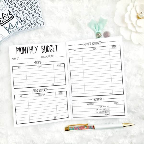 Undated Doodle V1 All Inclusive Monthly Planning Insert | Printed