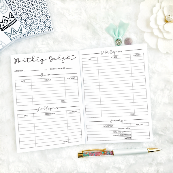 Dated Script All Inclusive Monthly Planning Insert | Layout C | 2020-21 | Printed