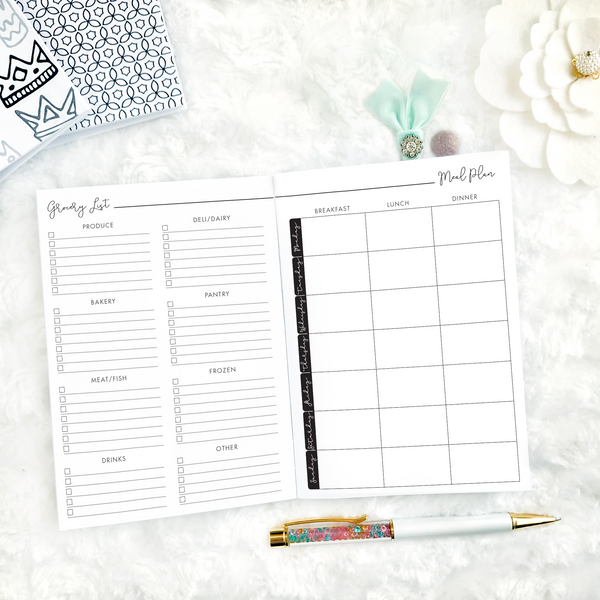 Meal Planner & Grocery List | Script Style | Printed
