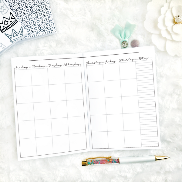 Undated Script All Inclusive Monthly Planning Insert | Printable