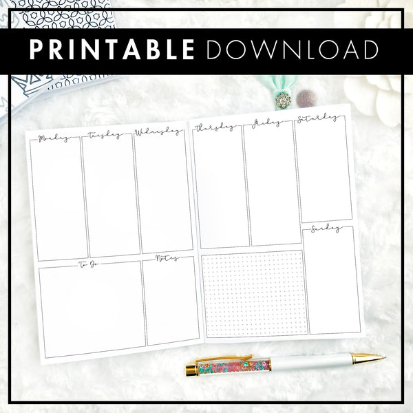 Undated Weekly Vertical Blank | Script Headers | Printable