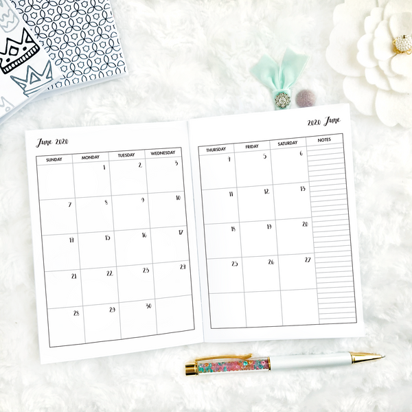 Dated Basic All Inclusive Monthly Planning Insert | Layout F | 2020-21 | Printed