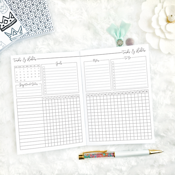 Dated Script All Inclusive Monthly Planning Insert | Layout B | 2020 | Printed