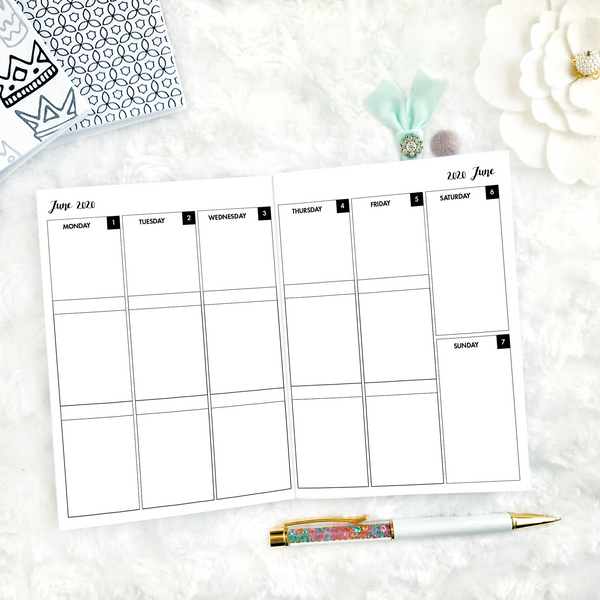 Dated Basic All Inclusive Monthly Planning Insert | Layout C | 2020-21 | Printed