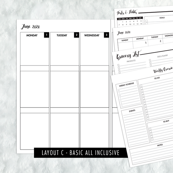 Dated Basic All Inclusive Monthly Planning Insert | Layout C | 2020 | Printed