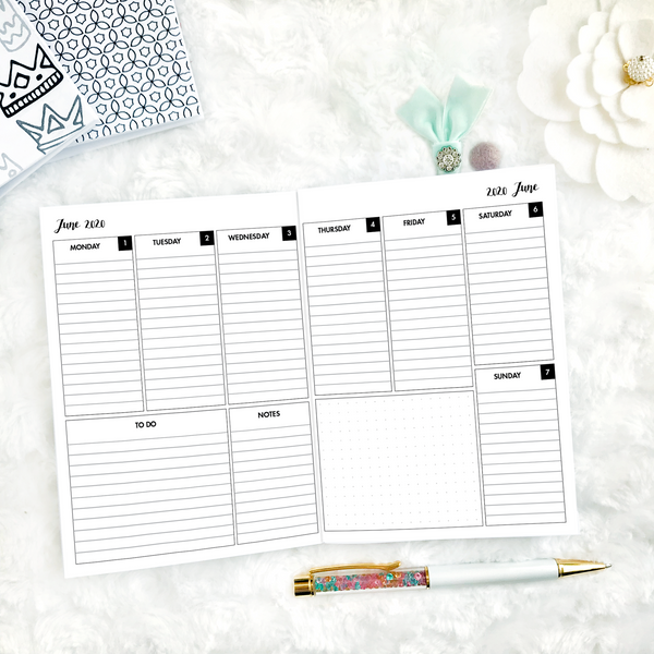 Dated Basic All Inclusive Monthly Planning Insert | Layout D | 2020-21 | Printed