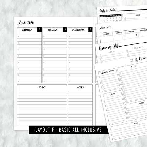 Dated Basic All Inclusive Monthly Planning Insert | Layout F | 2020 | Printed