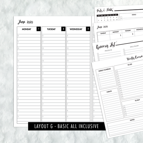 Dated Basic All Inclusive Monthly Planning Insert | Layout G | 2020-21 | Printed