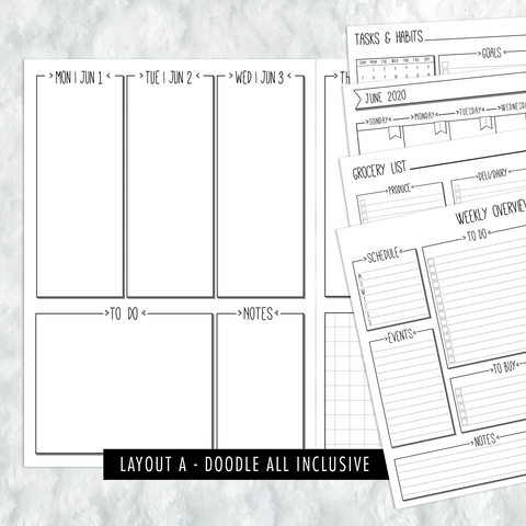 Dated Doodle All Inclusive Monthly Planning Insert | Layout A | 2020-21 | Printed