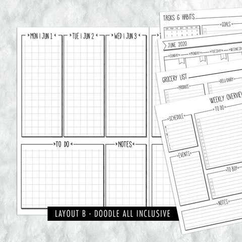 Dated Doodle All Inclusive Monthly Planning Insert | Layout B | 2020-21 | Printed