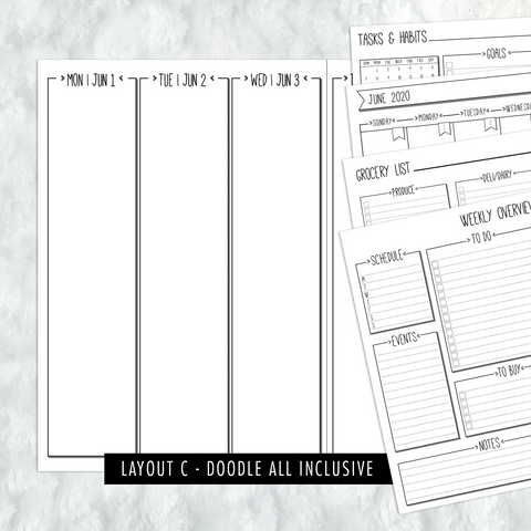Dated Doodle All Inclusive Monthly Planning Insert | Layout C | 2020-21 | Printed