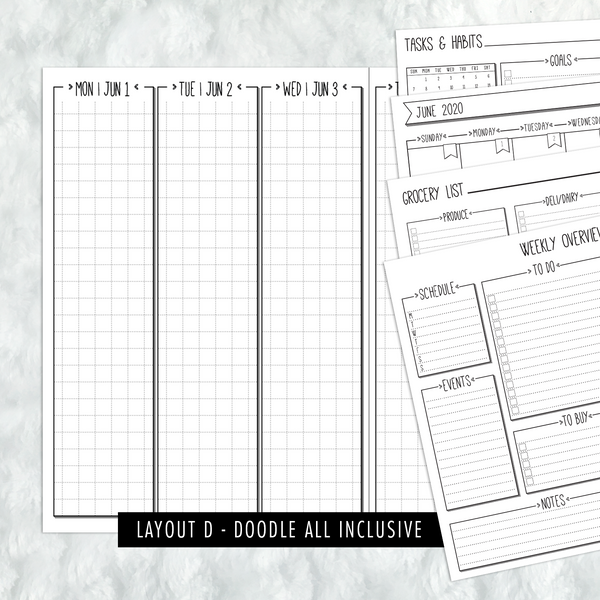 Dated Doodle All Inclusive Monthly Planning Insert | Layout D | 2020-21 | Printed