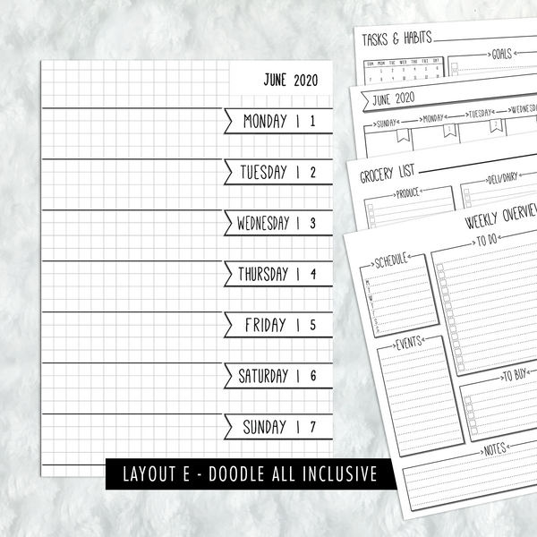 Dated Doodle All Inclusive Monthly Planning Insert | Layout E | 2020 | Printed