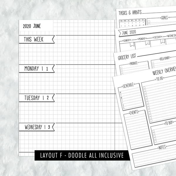 Dated Doodle All Inclusive Monthly Planning Insert | Layout F | 2020 | Printed