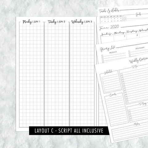 Dated Script All Inclusive Monthly Planning Insert | Layout C | 2020 | Printed