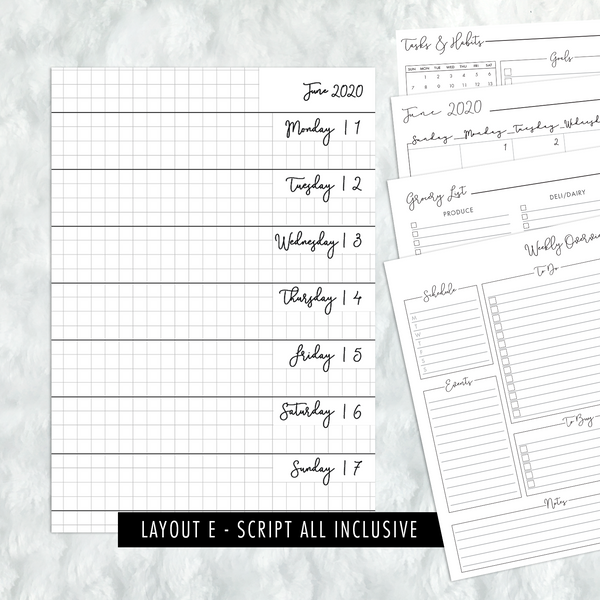 Dated Script All Inclusive Monthly Planning Insert | Layout E | 2020 | Printed