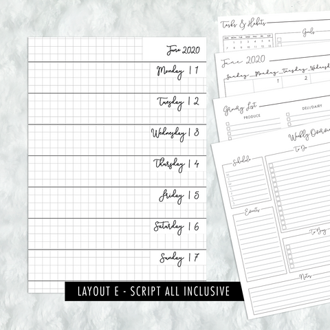 Dated Script All Inclusive Monthly Planning Insert | Layout E | 2020-21 | Printed
