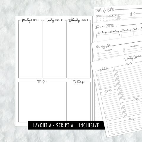 Dated Script All Inclusive Monthly Planning Insert | Layout A | 2020 | Printed