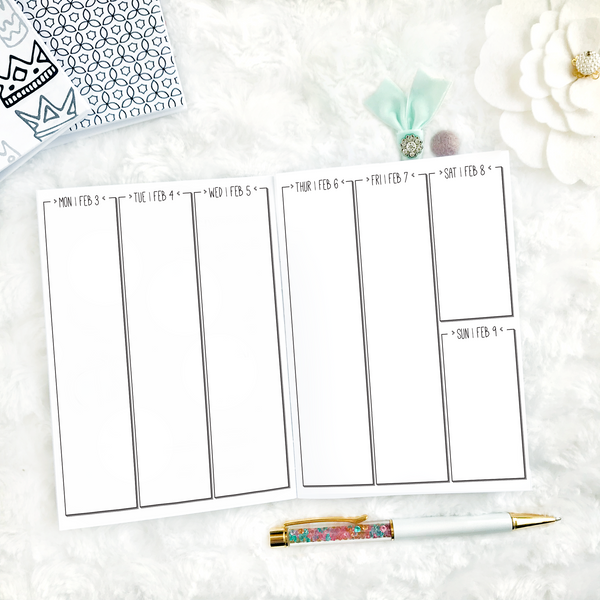 Dated Weekly Vertical Full Blank Column | Doodle | 2020-21 | Printed